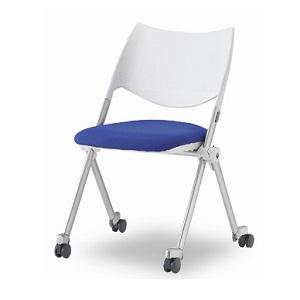 ミーティングチェア(折りたたみ椅子) 布 キャスター付
