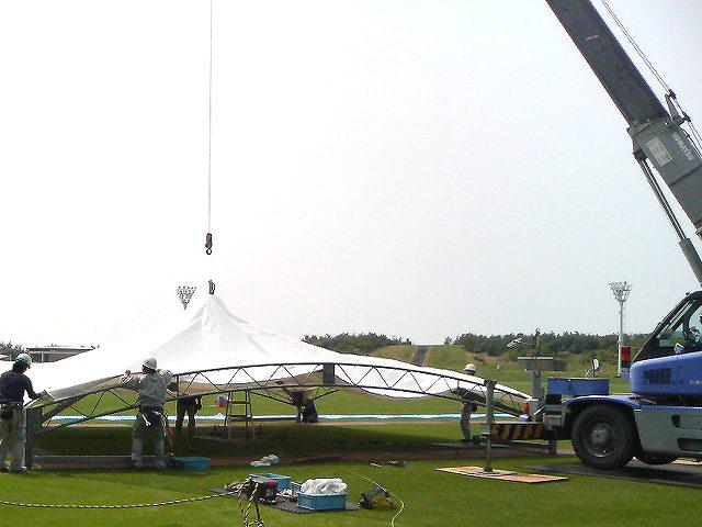 大型テントの組立て